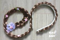 Tiara Trança Castanho Rapunzel Florzinhas