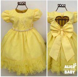 Vestido Festa Amarelo Mod.1 Menina Bonita