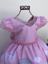 Vestido Festa Chuva de Amor Rosa 1-3 Menina Bonita