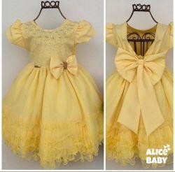 Vestido Festa Amarelo Mod.2 Menina Bonita