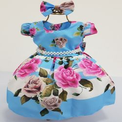 Vestido Festa Floral Azul/Rosa 1-4 Vestindo Princesas