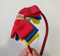Tiara Laço Triplo - Amarelo/Azul/Vermelho