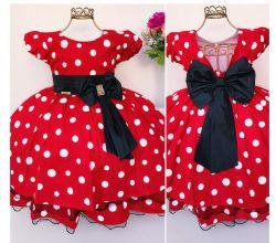 Vestido Festa Minnie Vermelho Menina Bonita
