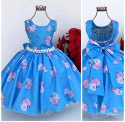 Vestido Festa Floral Azul Jeito de Menina