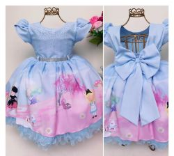 Vestido Festa Alice no País das Maravilhas Mod.5 Menina Bonita