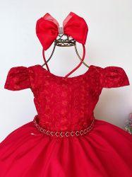 Vestido Festa Vermelho + Tiara Puzzle