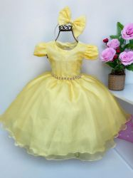 Vestido Festa Amarelo + Tiara Mod.1 Puzzle