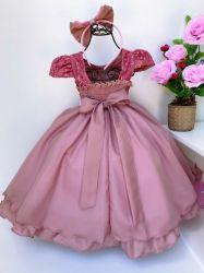 Vestido Festa Rosé + Tiara Puzzle