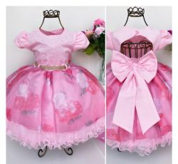 Vestido Festa Floral Rosa Menina Bonita