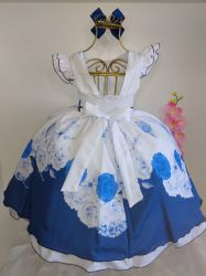 Vestido Festa Floral Azul + Laço Puzzle