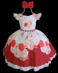 Vestido Festa Floral Vermelho + Laço Puzzle