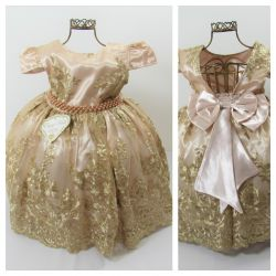 Vestido Festa Marfim Dourado Realeza Enjoy Kids