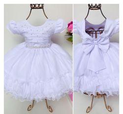 Vestido Festa Branco Mod.9 Menina Bonita