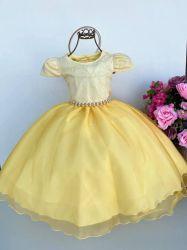 Vestido Festa Amarelo + Tiara Mod.2 Puzzle