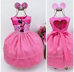 Vestido Festa Minnie Rosa + Tiara Mod.9 Puzzle
