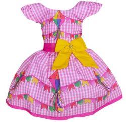 Vestido Junino Xadrez Rosa PrintVIII