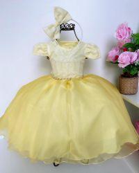 Vestido Festa Amarelo + Tiara Mod.3 Puzzle